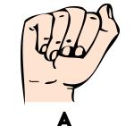 """Mano gestualizando la seña correspondiente a la letra """"a"""" de Chile"""